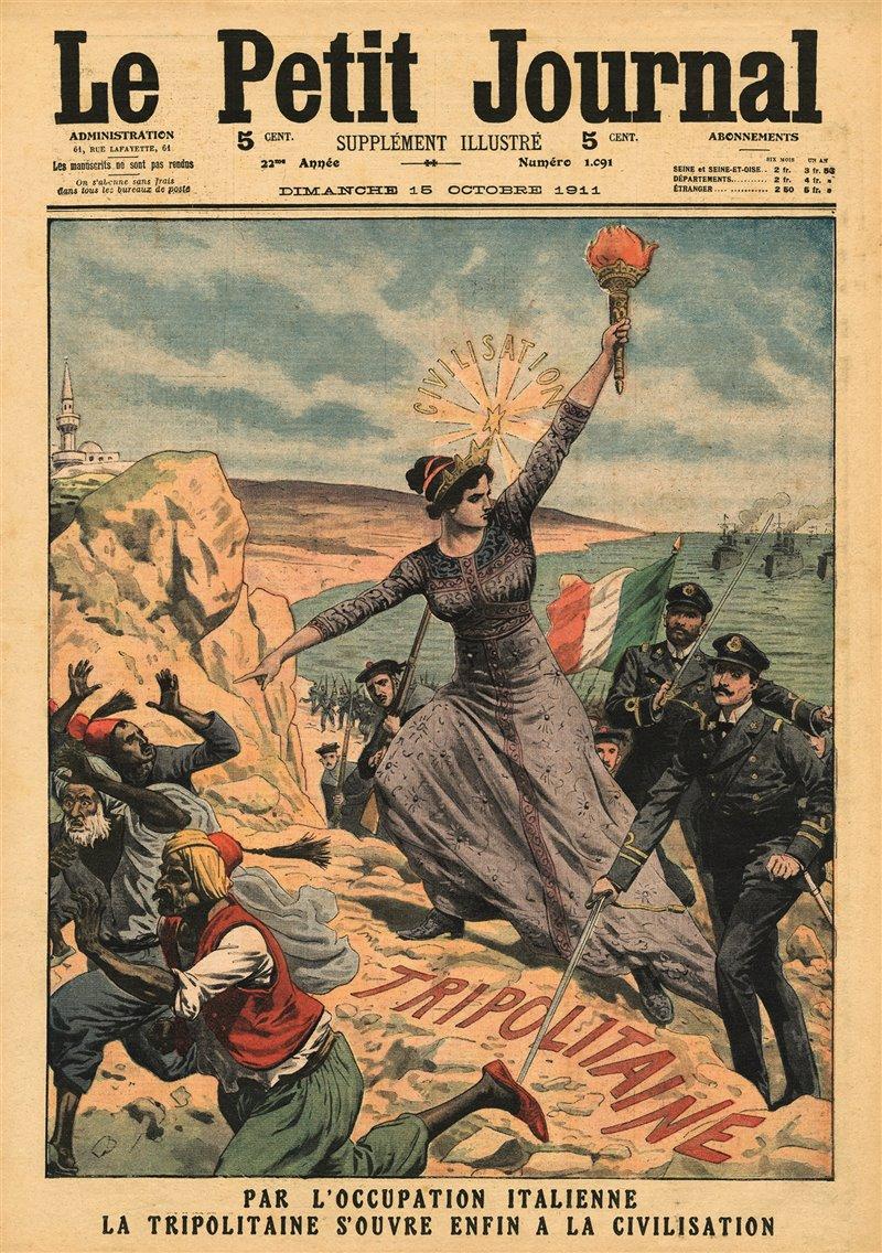 """Quest'illustrazione del 1911 apparsa sulla prima pagina della testata francese Le Petit Journal raffigura """"l'Italia che porta la civilizzazione in Tripolitania"""""""