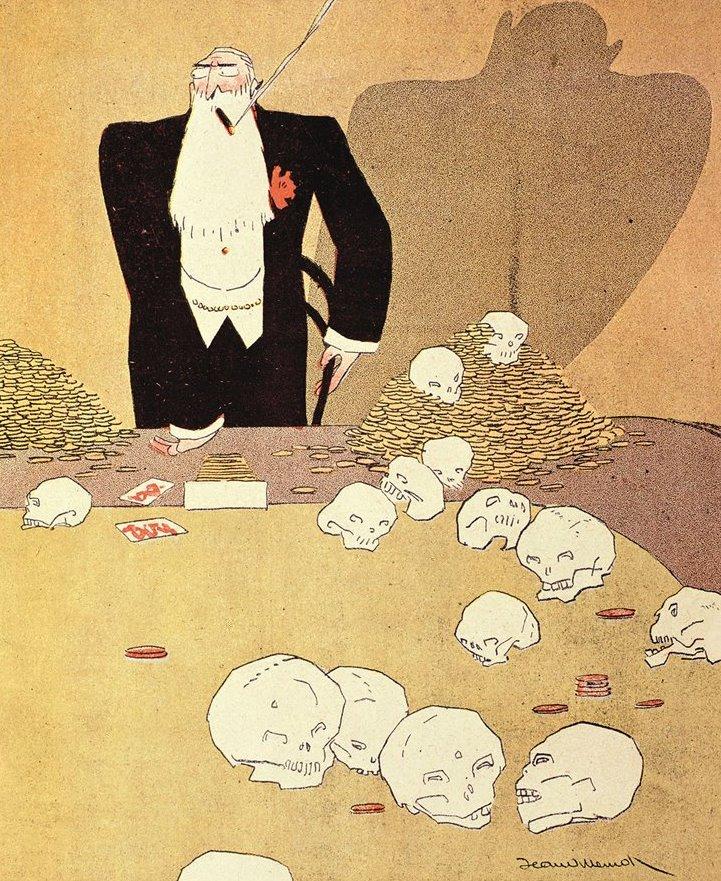 Caricatura dell'epoca mostra il re dei belgi circondato da crani, in una pesante allusione all'origine insanguinata della sua fortuna Foto: Photo 12 / Getty Images