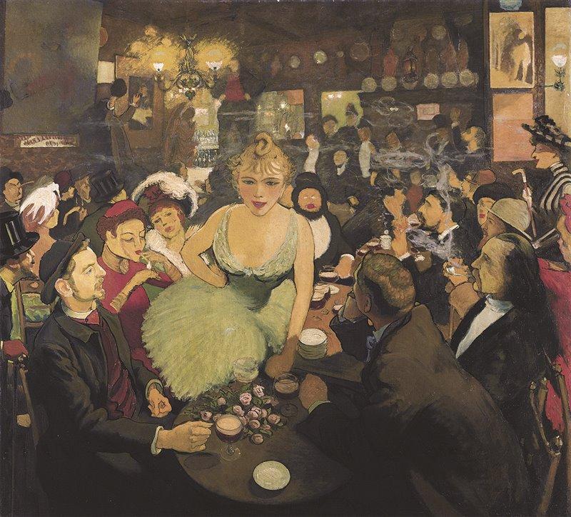 Questo manifesto, dipinto da Louis Anquetin, immortala una notte di divertimento nel club musicale Le Mirliton, di proprietà del famoso attore e cantante Aristide Bruant, divenuto noto nel cabaret Le Chat Noir
