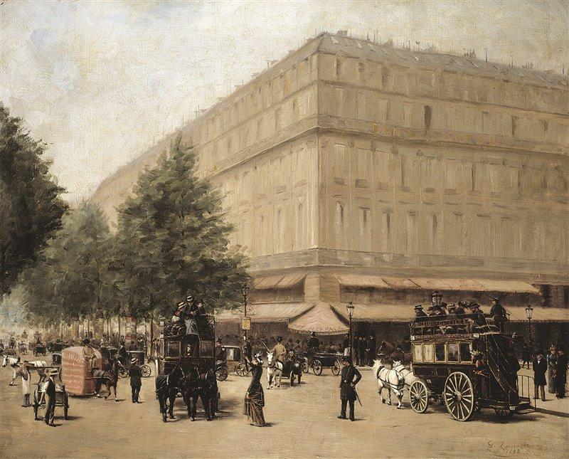 Quest'olio dell'artista G. Farrazin, risalente al 1892, mostra i primi omnibus trainati da cavalli e pieni di passeggeri che circolavano per le strade di Parigi