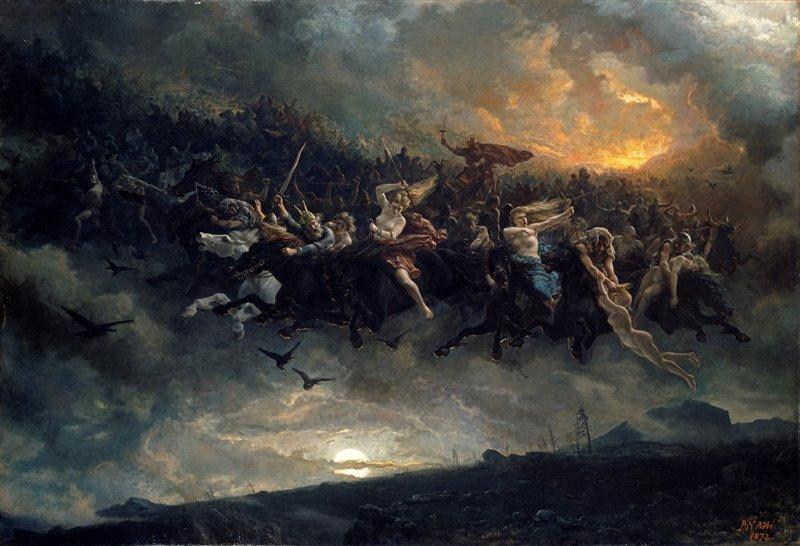 Nel dipinto di Peter Nicolai Arbo (1872) viene rappresentata la spettrale battuta di caccia a cui presero parte sia gli dei nordici sia i guerrieri defunti