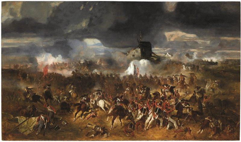 Andrieux Clément Auguste ricostruì in questo quadro del 1852 la battaglia di Waterloo, che aprì le porte della Francia ai nemici di Napoleone. Palazzo di Versailles