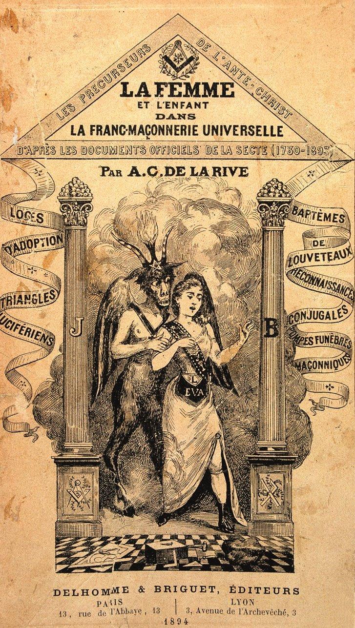 Copertina di un libro antimassonico dello scrittore cattolico Abel Clarin de la Rive pubblicato nel 1894