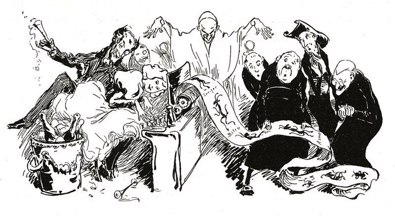 In questa caricatura apparsa nel maggio del 1897 sulla rivista Jugend Diana Vaughan svela alla Chiesa gli orrori della massoneria, ma è Taxil a dettarle la confessione