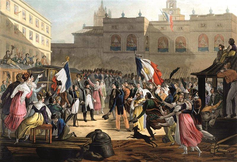 La calorosa accoglienza ricevuta il 7 marzo del 1815 a Grenoble convinse Napoleone che il successo era a portata di mano. «Prima di Grenoble ero un avventuriero; lì divenni un principe», dichiarò. Incisione del 1830