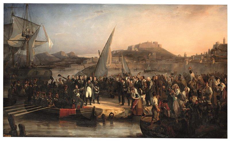 Napoleone si imbarca per la Francia. In quest'olio del 1826 Joseph Beaume ricostruisce la partenza di Bonaparte dall'Isola d'Elba, avvenuta il 26 febbraio del 1815. Musée naval et Napoléonien, Antibes