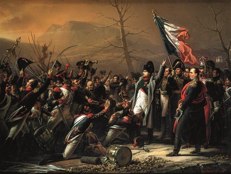 Quest'olio del 1818, opera di Carl von Steuben, mostra l'arrivo di Napoleone e delle sue truppe a Golfe-Juan, nei pressi di Antibes, il primo marzo del 1815
