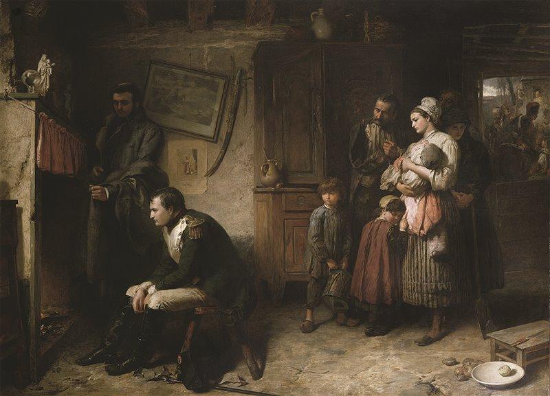 Un Napoleone pensieroso si riposa presso una famiglia contadina durante il rientro da Waterloo. Olio di Marcus Stone
