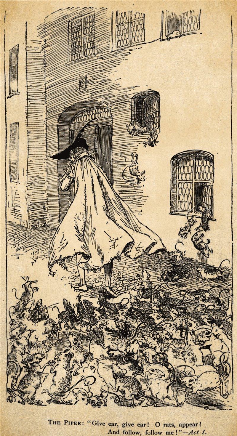 Il pifferaio e i ratti nell'illustrazione di un libro per bambini del XIX secolo
