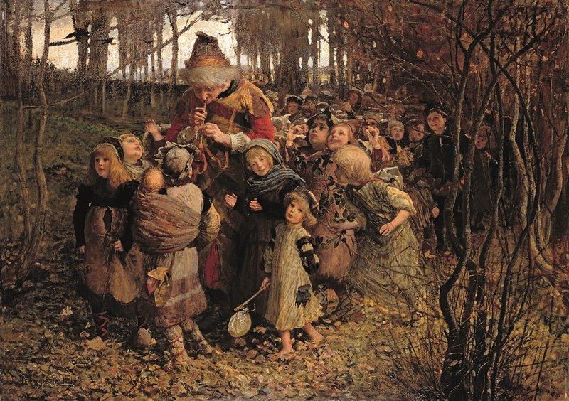 Il pifferaio porta via i bambini da Hamelin in quest'olio del 1881 di James Elder Christie