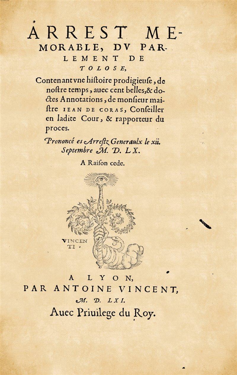 Il rapporto di Jean de Coras, giudice istruttore del processo di Tolosa