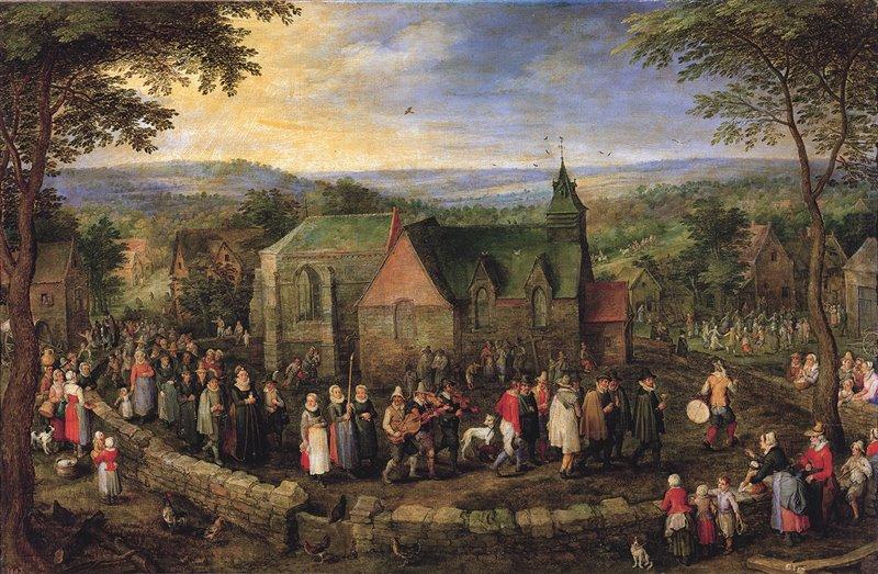 Nozze campestri. In quest'opera di Jan Brueghel il Vecchio, dei primi del XVII secolo, un corteo nuziale sfila davanti alla chiesa di una località rurale