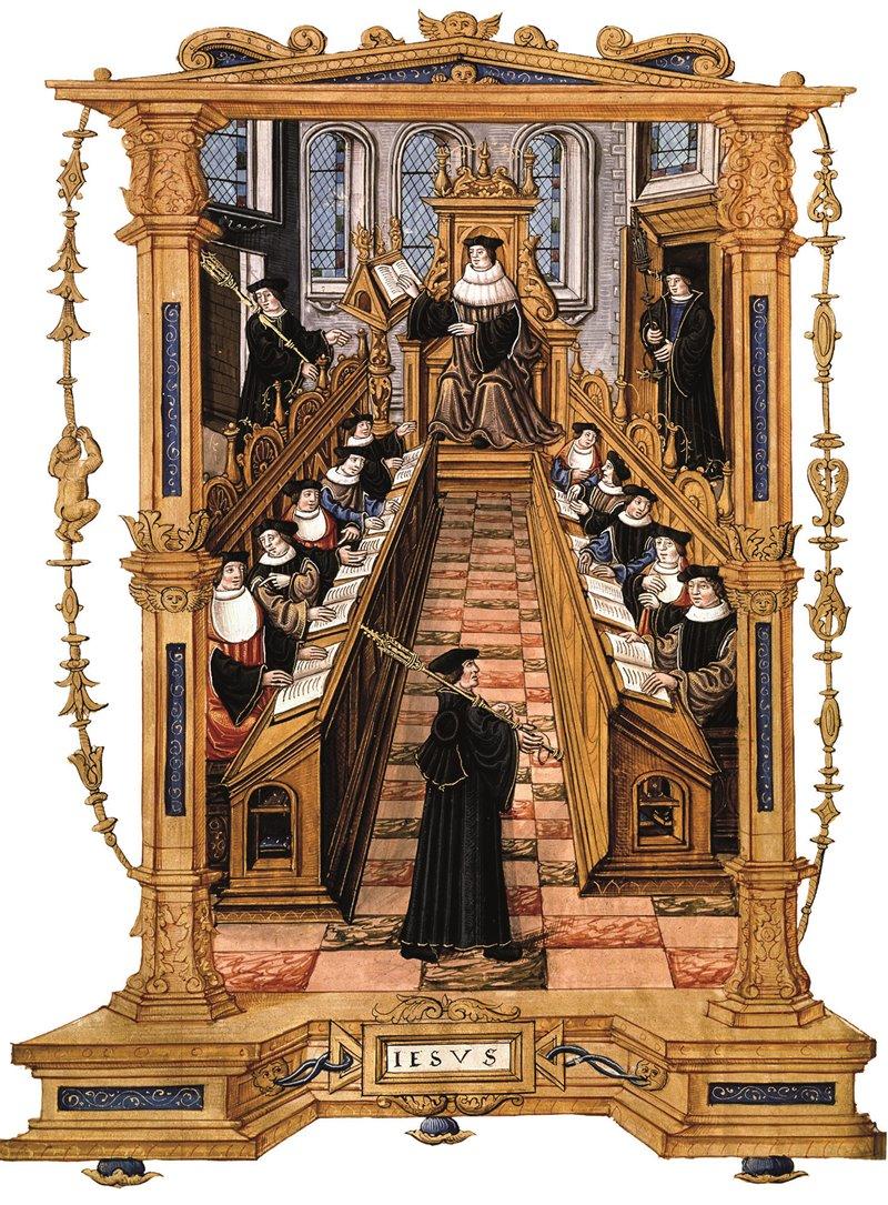 Riunione di un tribunale. Miniatura di un manoscritto francese del XVI secolo