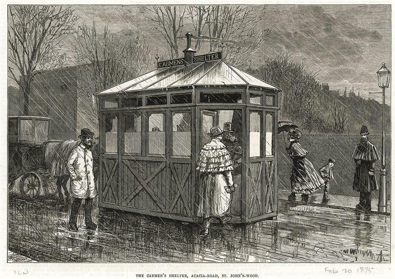 Fermata di passeggeri a Londra. Incisione del 1875