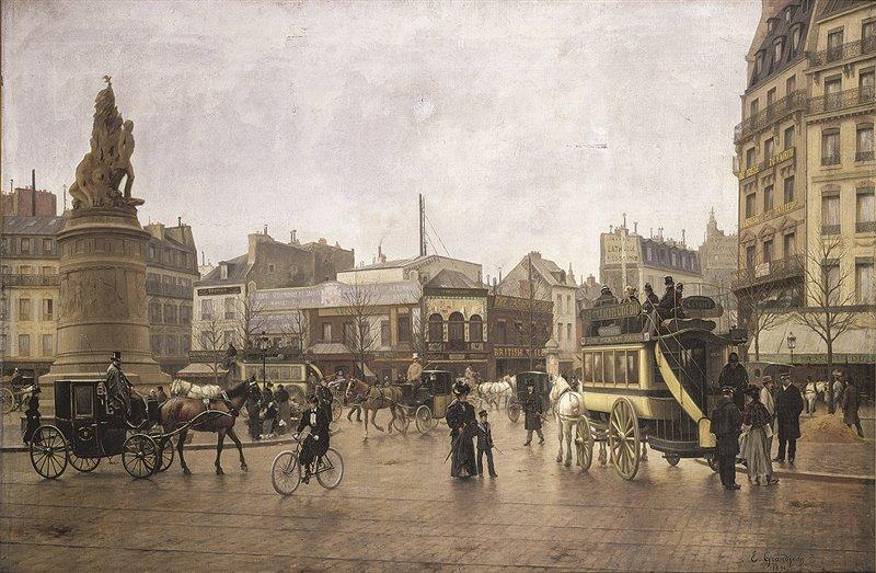 In quest'olio di E.G. Grandjean del 1896 è ritratta la parigina place de Clichy. Si scorgono diverse carrozze, una bicicletta e, sulla destra, un omnibus