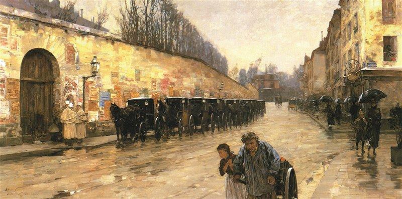 Quest'olio dello statunitense Frederick Childe Hassam, del 1887, mostra una strada di Parigi, Rue Bonaparte: le carrozze aspettano l'arrivo di clienti, mentre tre cocchieri in livrea parlano tra loro