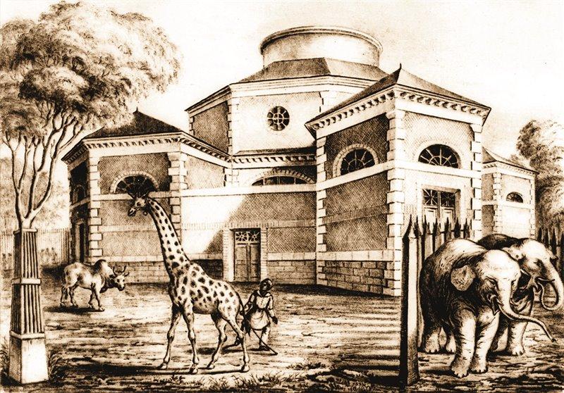 """Lo zoo o Ménagerie del Jardin du Roi fu creato nel 1794. Aveva una rotonda dedicata agli animali """"pacifici"""" ed è qui che fu condotta la giraffa inviata dal pascià Mehmet Ali"""