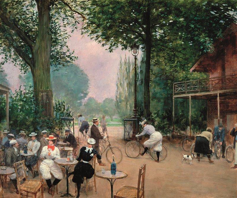 """""""Le chalet du cycle au bois de Boulogne"""". Olio di Jean Béraut del 1900 circa"""