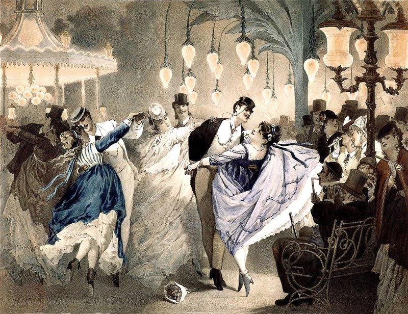 Incisione del 1852-1870 che rappresenta un valzer alla 'bal Mabille', una delle famose sale da ballo francesi del Secondo impero