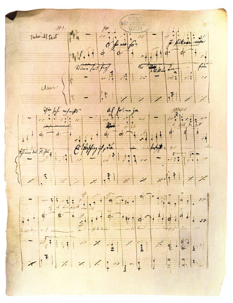 """""""Sul bel Danubio blu"""". Partitura originale scritta da Johann Strauss figlio. Haus Der Musik, Vienna"""