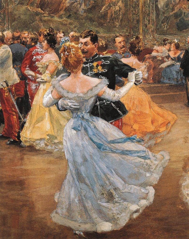 """Una coppia balla un valzer a corte. Particolare dell'acquerello di Wilhem Gause, """"Ballo al palazzo di Hofburg"""""""