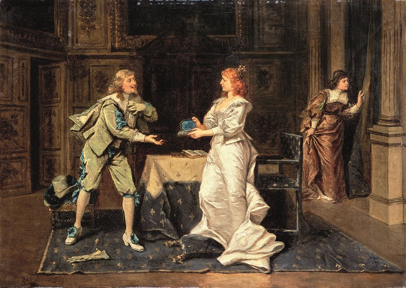 Anna d'Austria regala i puntali di diamante al duca di Buckingham prima che questi faccia ritorno in Inghilterra. Olio di W. Bakalowicz. XIX secolo