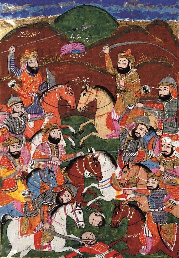 La guerra civile che vide scontrarsi Ali e Mu'awiya si concluse con la vittoria di quest'ultimo e la scissione tra sciiti e sunniti. Nell'illustrazione, la battaglia di Siffin (657). British Library, Londra