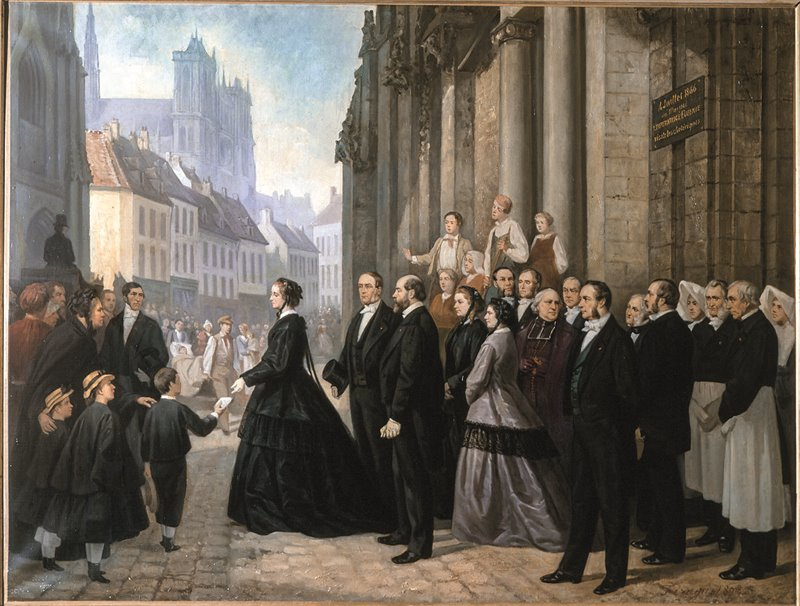 L'imperatrice visita Amiens durante un'epidemia di colera. Olio di Auguste François Féragu. 1866. Castello di Compiègne