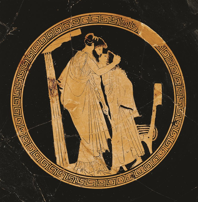 Amante e Amato. Un adulto con la barba, come richiesto dalle convenzioni iconografiche, bacia un giovane imberbe. 480 a.C. Musée du Louvre, Parigi