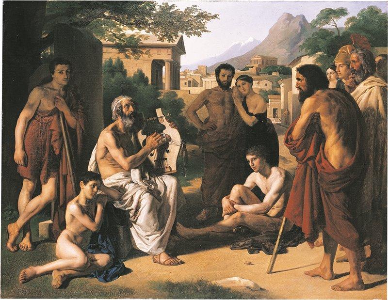 Omero recita i suoi versi. Olio di Paul Jourdy. XIX secolo. École nationale supérieure des beaux arts