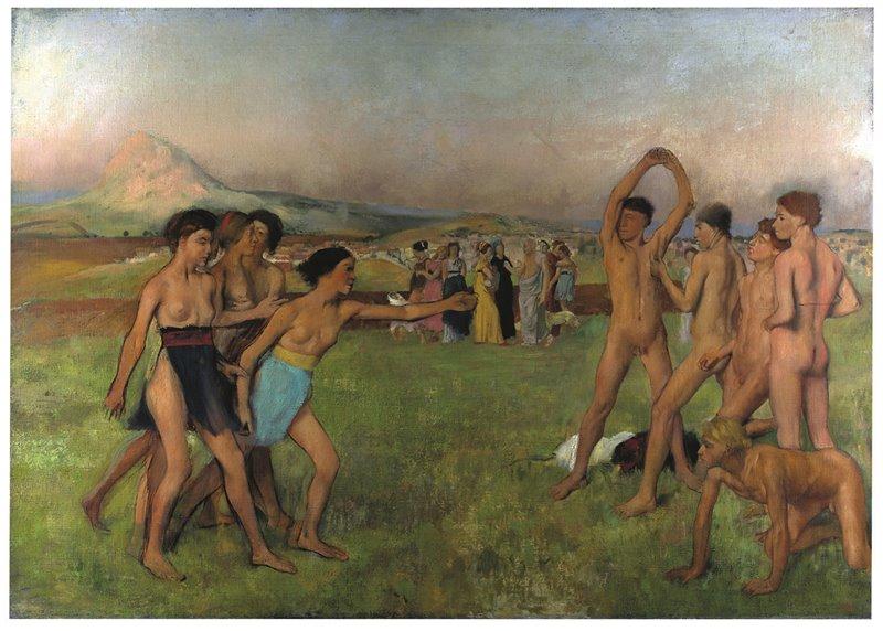 Un gruppo di ragazze spartane pratica attività sportiva con compagni di sesso opposto. Edgar Degas. XIX secolo. National Gallery, Londra.