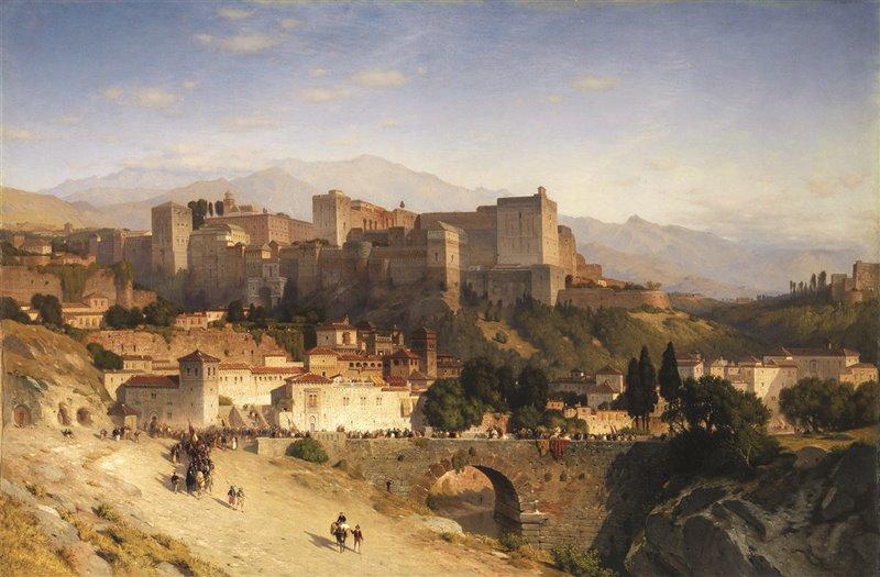 L'Alhambra. Questo dipinto di Samuel Colman del 1865 rappresenta la città di Granada, dominata dall'impressionante fortezza nasride così com'era ai tempi della visita di Irving