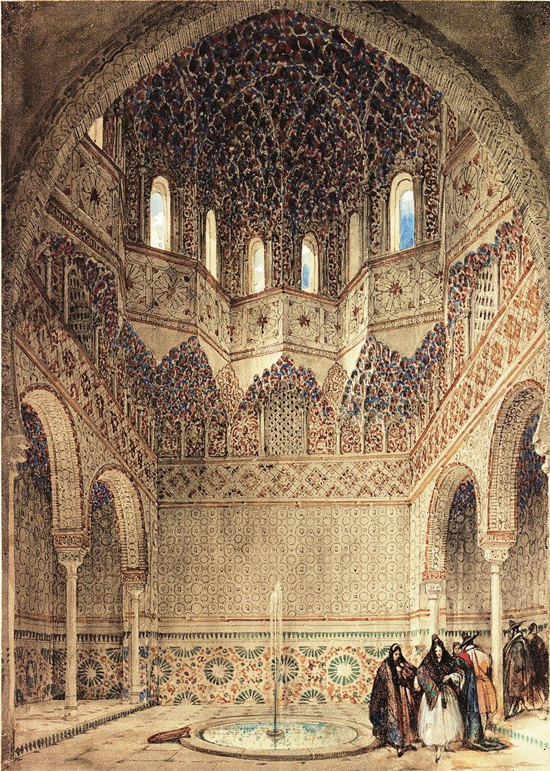 Stanza degli Abencerrages. Irving ambientò una delle sue leggende più famose dell'Alhambra in questa sala. Incisione di David Roberts. 1834