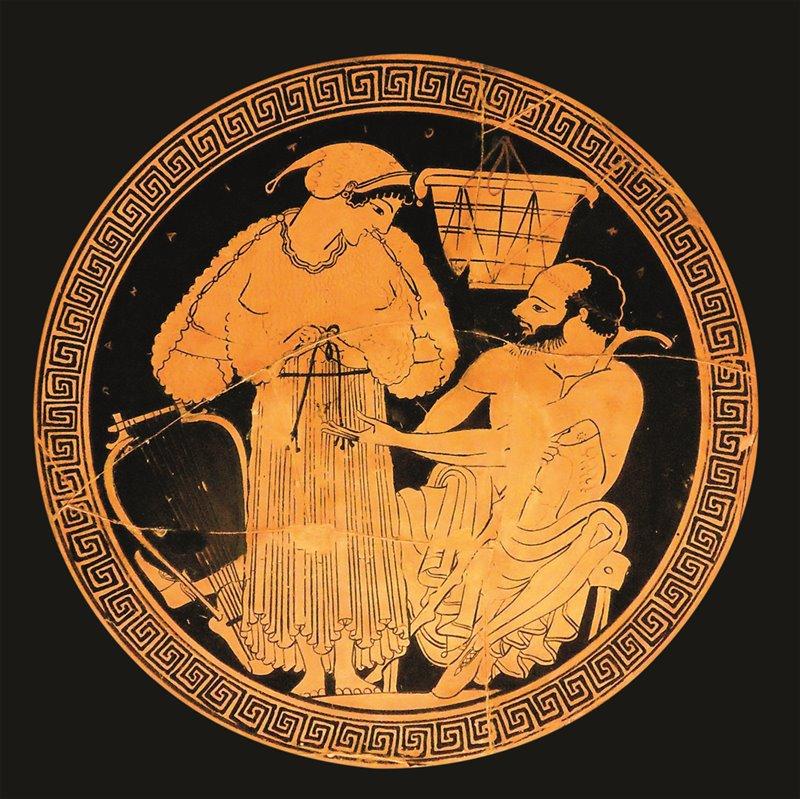 Fondo di una kylix dipinta da Eufronio attorno al 490 a.C. che rappresenta una suonatrice di lira nell'atto di spogliarsi in un simposio