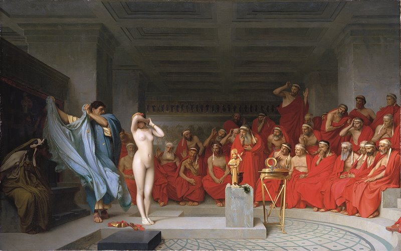 Frine davanti ai giudici. Jean-Léon Gérôme ricrea in quest'olio l'episodio in cui Frine si mostra nuda ai giudici che l'accusano di empietà e ottiene l'assoluzione. 1861. Kunsthalle Hamburg, Amburgo