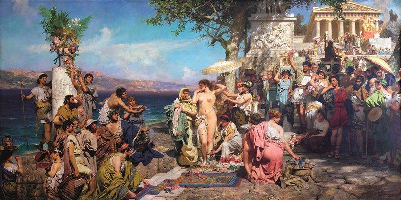 Quest'olio del 1889, opera di Henryk Siemiradzki, presenta la celebre etèra Frine mentre sta per fare il bagno su una spiaggia di fronte al santuario di Eleusi