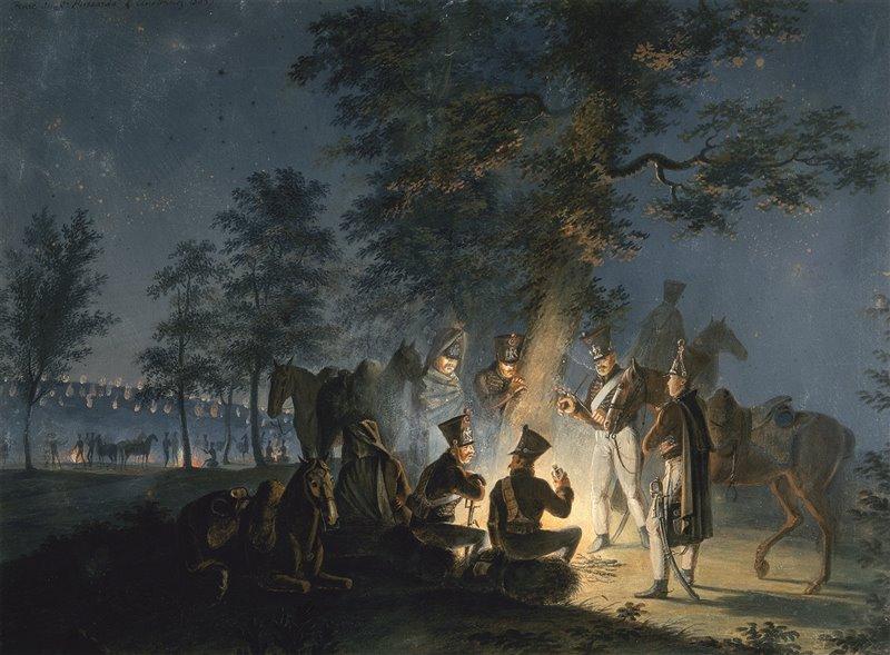 Bivacco del secondo battaglione di ussari dell'esercito francese alla vigilia della battaglia di Austerlitz del 1805