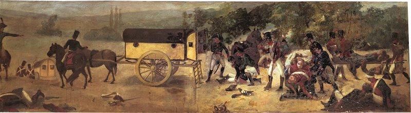 Alcuni soldati trasportano i feriti su un'ambulanza volante di Larrey. Musée du Service de Santé des Armées, 1809, Parigi