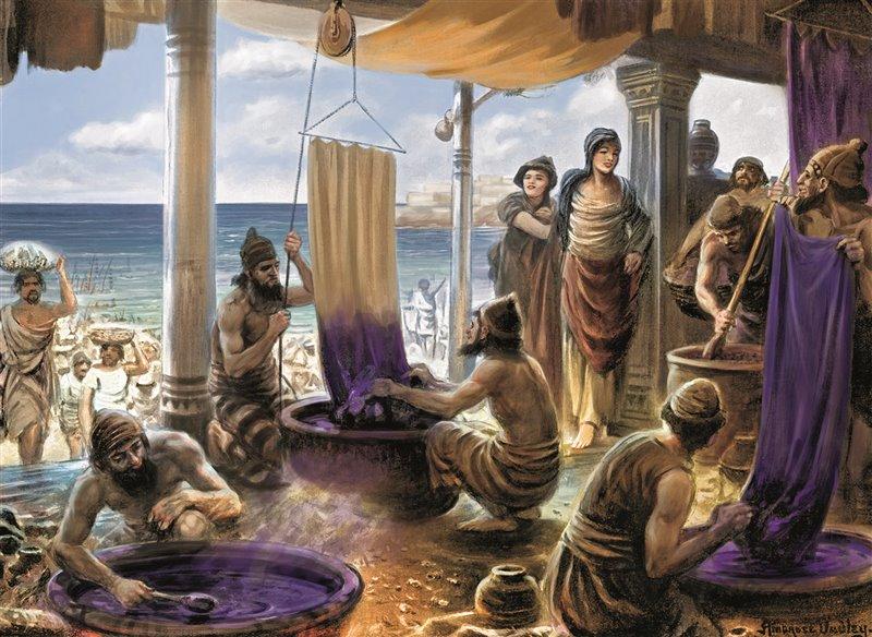 il disegno illustra la produzione della famosa tintura in un centro fenicio situato vicino al mare