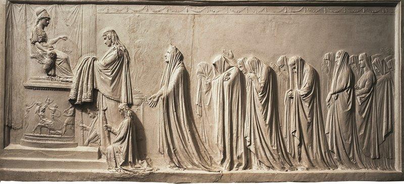 In questo bassorilievo di Antonio Canova la regina di Troia Ecuba offre il suo peplo alla dea Atena. 1792-1793. Museo civico Correr, Venezia