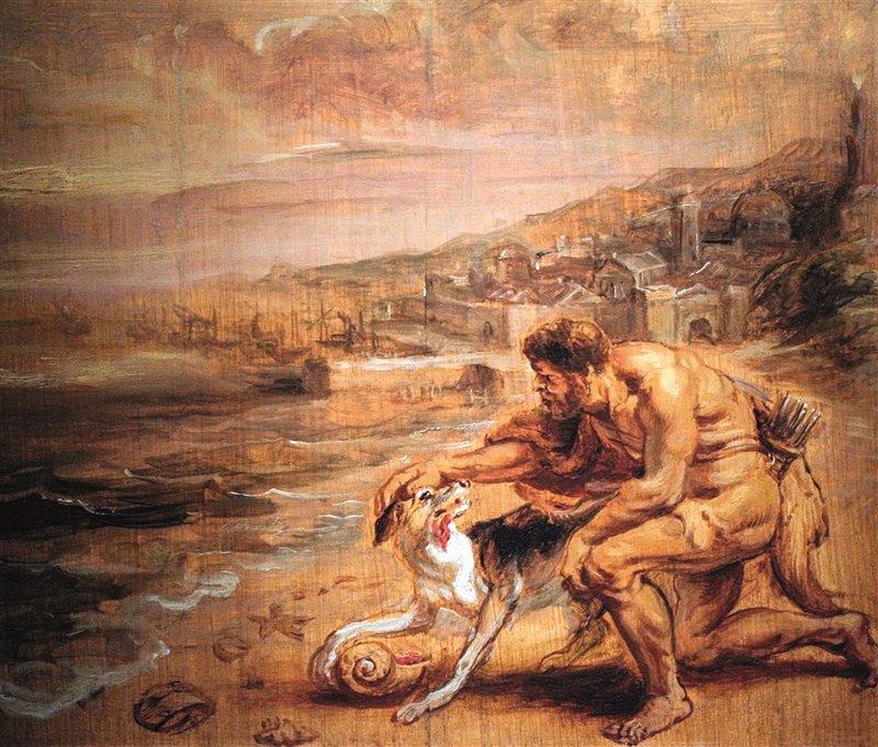 Melqart scopre la porpora sul muso del suo cane. Olio di Rubens. 1636