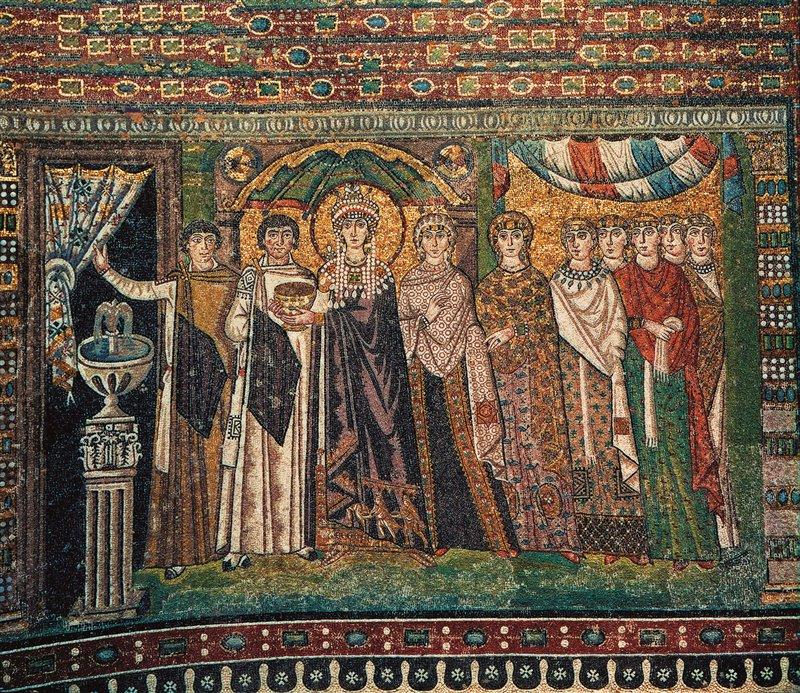 Nell'impero bizantino la porpora era un colore destinato solo ed esclusivamente ai regnanti. In questo mosaico della Basilica di San Vitale, a Ravenna, l'imperatrice Teodora indossa una tunica porpora. VI secolo