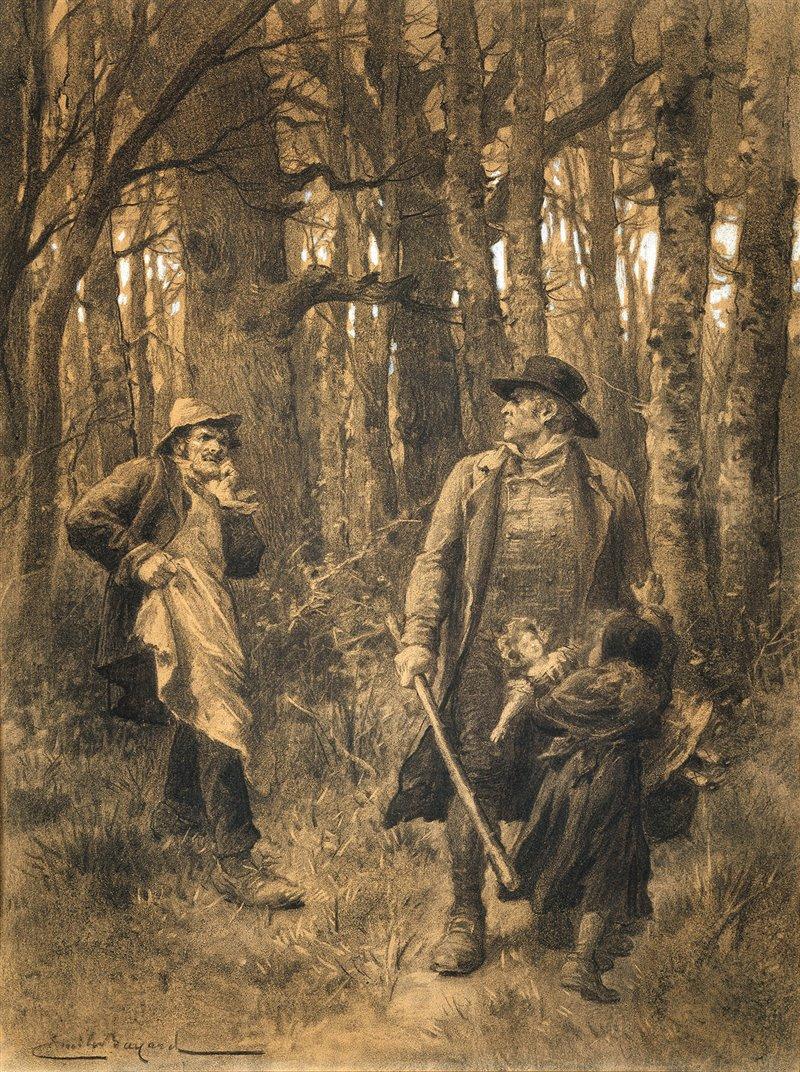 Jean Valjean salva Cosette dalle grinfie di Thénardier. Episodio de I miserabili in un'incisione di Émile Bayard. Museo Victor Hugo, Parigi