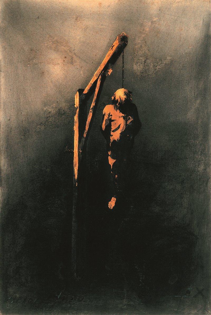 L'impiccato. Disegno di Victor Hugo. 1854. Museo Victor Hugo, Parigi