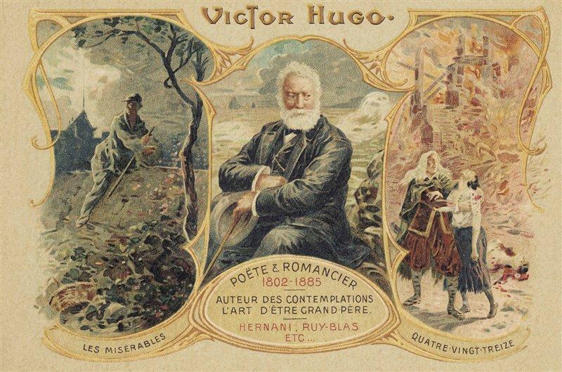 """Ritratto di Victor Hugo con illustrazioni di due sue opere: """"I Miserabili"""" e """"Novantatré"""""""