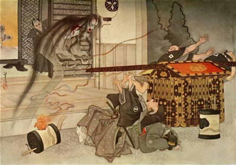 Disegno che mostra l'apparizione di un fantasma. Libro sui racconti del Giappone. 1919, Londra