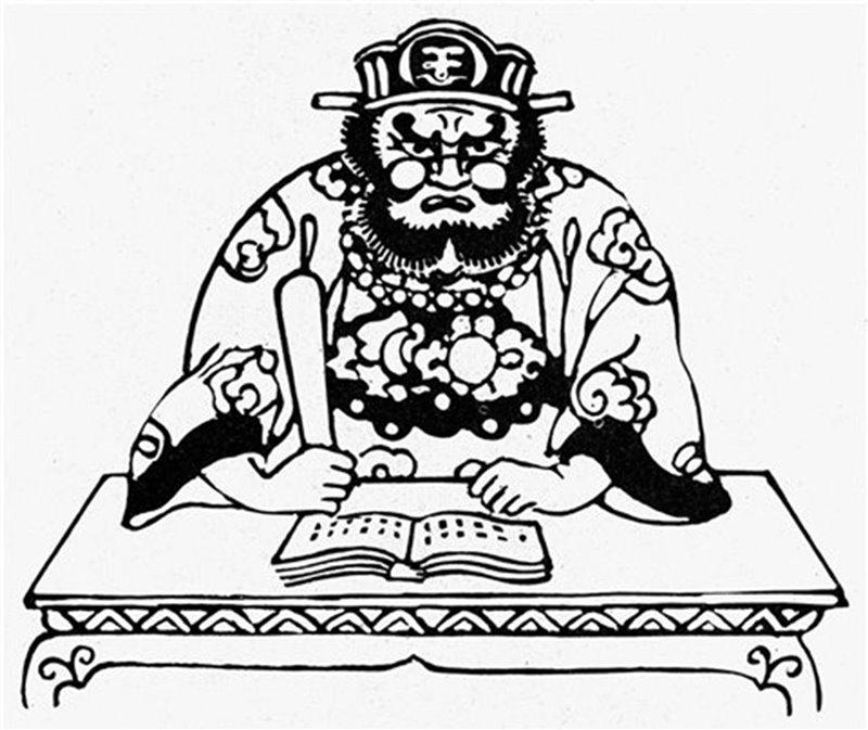 Il terribile dio Emma-ō giudica le anime dei defunti grazie a un registro che contiene i peccati commessi da ognuno di loro