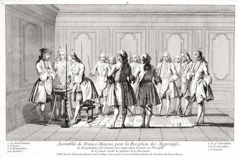 Come i massoni, gli Illuminati celebravano dei convegni rituali ogni volta che uno dei loro adepti saliva di grado. Cerimonia d'iniziazione di un apprendista massone. Incisione, 1733
