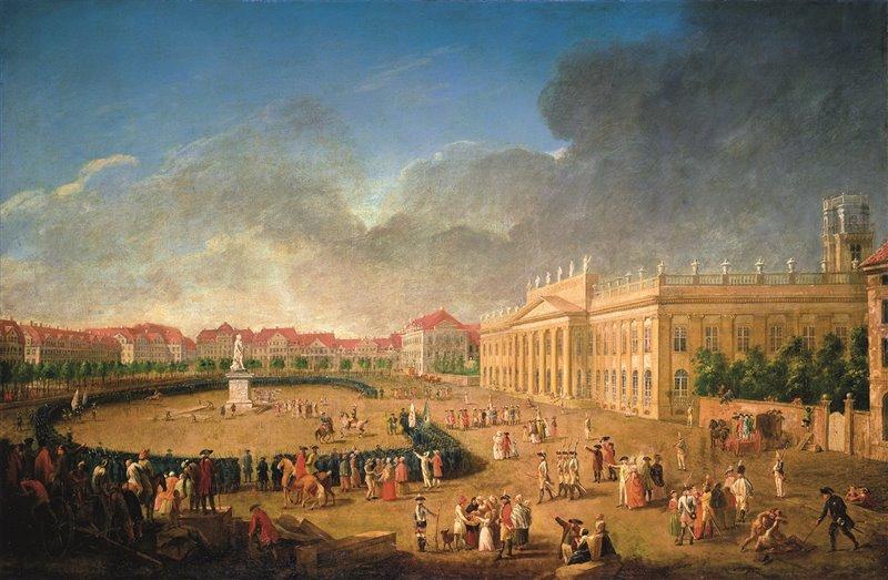 Inaugurazione della statua del langravio Federico II a Kassel, capitale dell'Assia. Suo figlio Carlo era un membro degli Illuminati. J.H. Tischbein, 1783