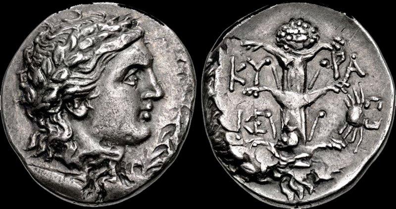 Coniata probabilmente intorno al II secolo a.C. sotto il periodo tolemaico, questa moneta mostrasul rovescio il rilievo di un sìlfio